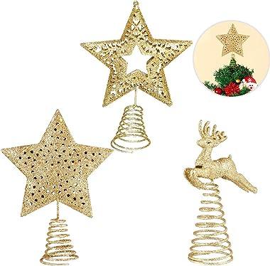 Suszian 3PCS Arbre de Noël Topper 5-Point Star Elk Treetop pour Les Ornements de Noël de Vacances à la Maison, Elk 14 * 10cm,