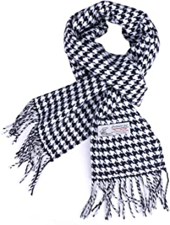 Herringbone Houndstooth Checked Pattern Cashmere Feel Classic Soft Luxurious Winter Scarf For Men Women