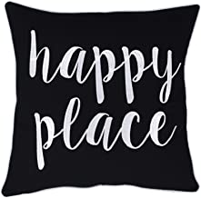 ADecor Happy Place Embroidered Quote Black Decorative Pillow for Home Living Room Entryway Bedroom Farmhouse (18X18, Happy Place(Black))