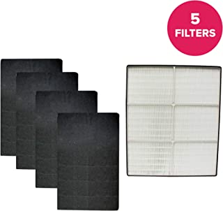 Crucial Air Replacement Compatible with Whirlpool HEPA Style Air Purifier Filter & 4 Carbon Pre Filters Whispure AP350, AP450, AP45030K, AP510, AP51030K, Compatible Part # 8171434K, 1183054, 1183054K