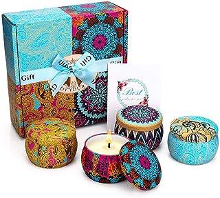 CREASHINE Velas Perfumadas Juego de 4 Piezas Vela Aromática Regalo de Velas de Aromaterapia Cera de Soja 100% Natural Vela de Viaje Adecuado para Yoga Baño Dormitorio