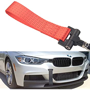 iJDMTOY Track Racing Style Red Towing Strap for Scion FR-S Toyota 86 Subaru BRZ Impreza WRX STI etc Tow Hole Adapter Mounted Nylon Loop Hook