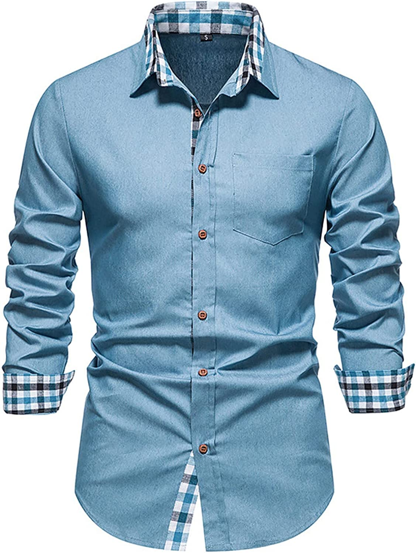 Men's Dress Shirts Button Shirts Long Sleeve Shirts Slim Fit Printed Lapel Shirts Elegant Casual Shirt Dress Shirt