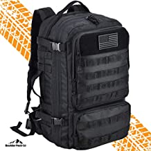Boulder Pack Co. Military Army Tactical Backpack Bag, Large 40L, MOLLE Assault Pack with Rain Cover, Expandable Size and Water Bladder Compartment