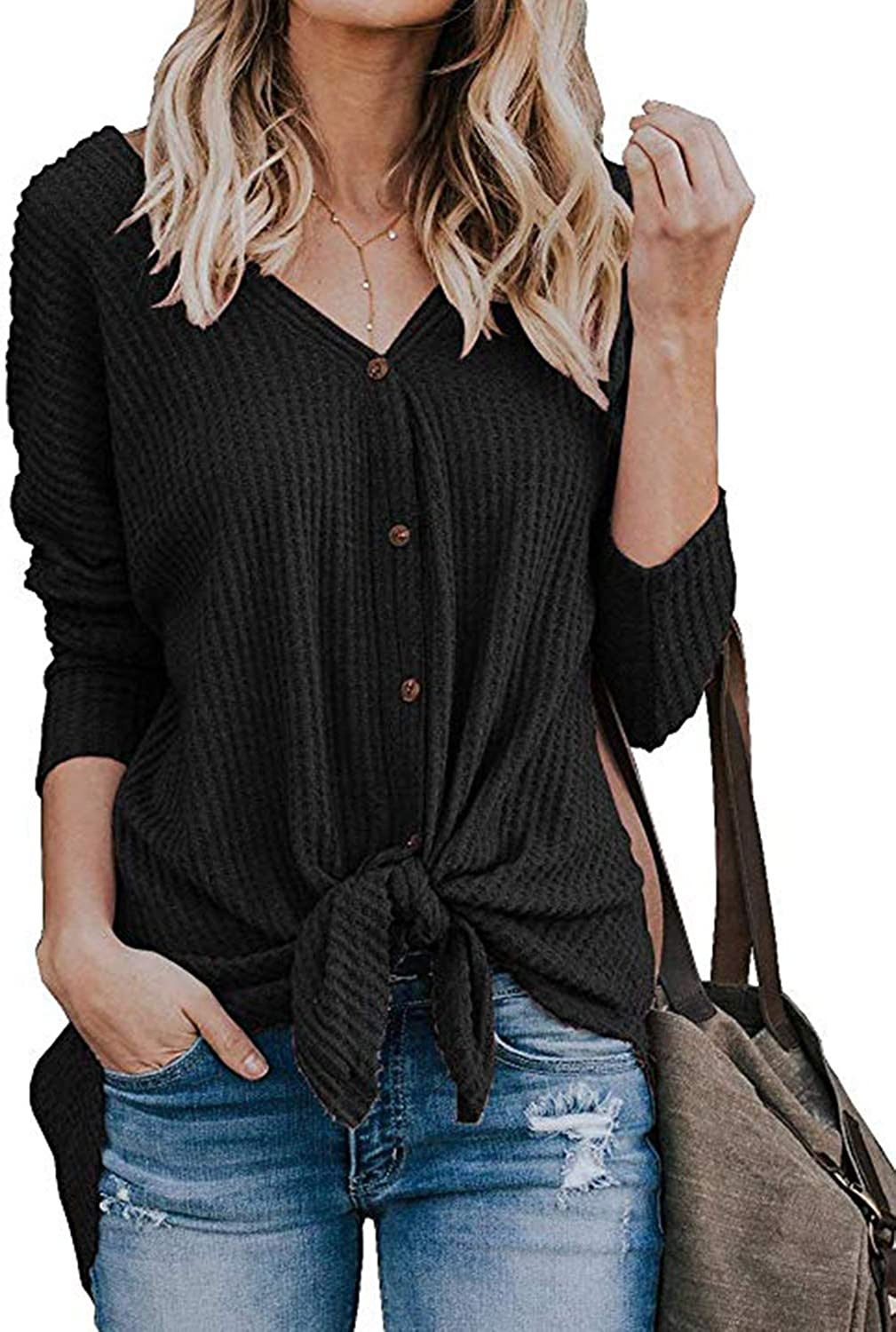 ChainJoy Women's Long Sleeve Round Neck Casual Tie Knot Front Blouse TShirt Tops