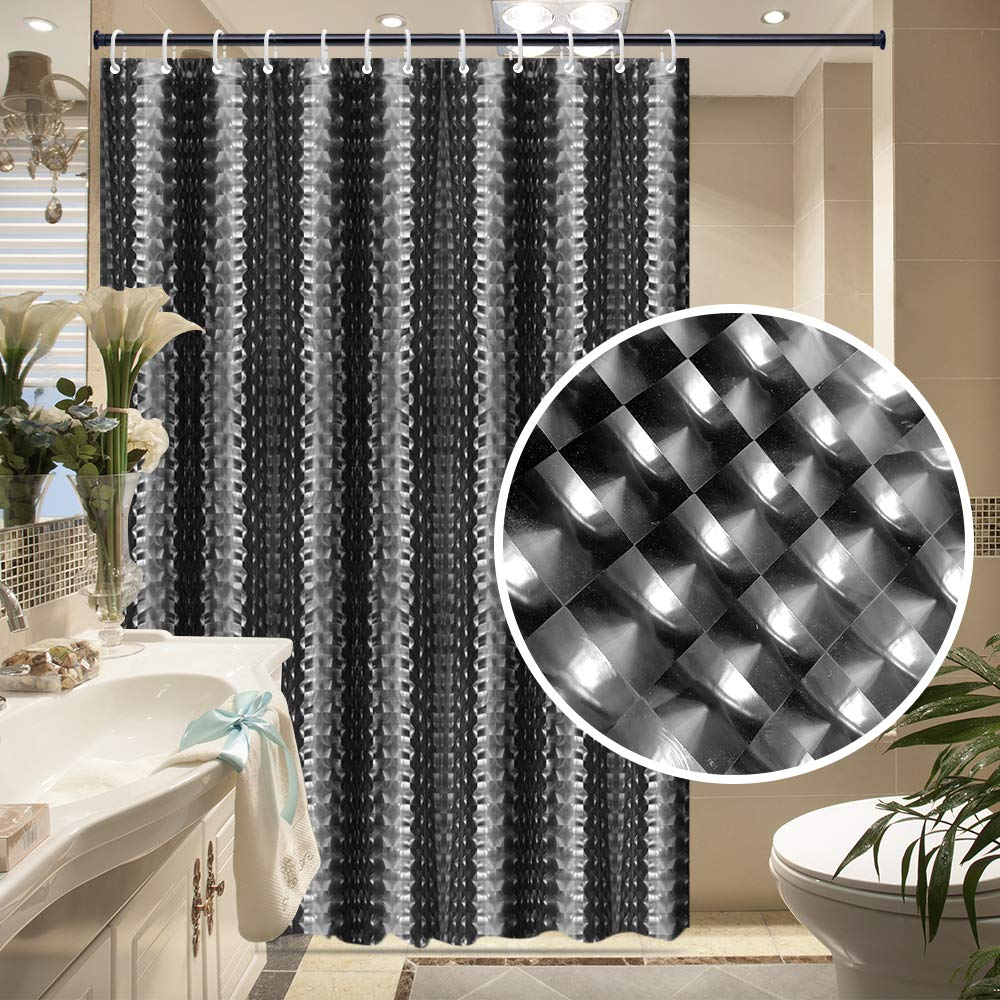 LILIUM PEVA Shower Curtain Liner Waterproof,Black and 71W*79H Black and White