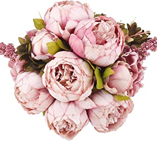 Flojery Silk Peony Bouquet Vintage Artificial Peonies Flower for Home Wedding Party Decor (1pcs, Bean)