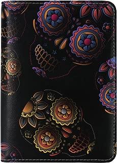 Sugar Skull Dia De Los Muertos Leather Passport Cover - Holder - for Men & Women - Passport Case