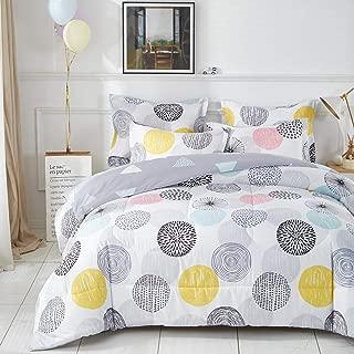 Uozzi Bedding Colorful Dots Comforter Set Queen Size Pink Yellow Gray Blue Circles Print Reversible Down Alternative 800 TC Adult Duvet Sets 1 Microfiber Comforter with 2 Pillow Shams