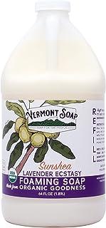 Vermont Soap SunShea Organic Lavender Foaming Hand Soap, USDA Certified Organic Moisturizing Soap for Dry Skin 1/2 Gallon ...