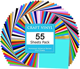 Best Lya Vinyl 55 Assorted Colors Permanent Adhesive Vinyl Sheets 12 x 12 inchs for Decor Sticker, Weeding Machine, Craft Cutter Machine, Printers, Letters, Car Decal, Vinyl Paper Review