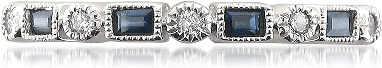 1/4 Carat Diamond, Bezel-Set 14kt White Gold Round & Baguette Diamond & Blue Sapphire Bridal Wedding Band Ring (I-J, SI2-I1) by La4ve Diamonds   Real Diamond Wedding Band For Women   Gift Box Included