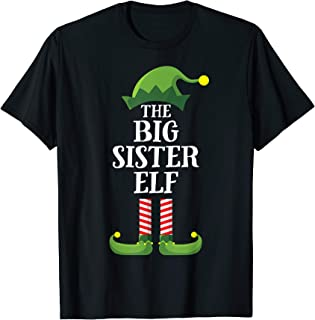 Big Sister Elf Matching Family Group Christmas Party Pajama T-Shirt