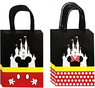QMZ Treat Bags Castle Gift Party Paper Bags with Handle for Birthday Baby Shower Mickey Minnie Theme Party Decorations Supplies- 12PCS