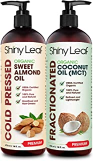 Sponsored Ad - Organic Sweet Almond Oil and Fractionated Coconut Oil Bundle for Hair and Skin, 100% Pure and Natural, Hexa...