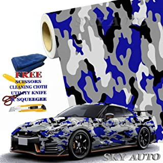 Sky Auto INC Blue Black White Gray Camouflage Vinyl Car Wrap Film Sheet + Free Cutter, Cleaning Cloth, Scissors & Squeegee (6FT x 5FT / 72