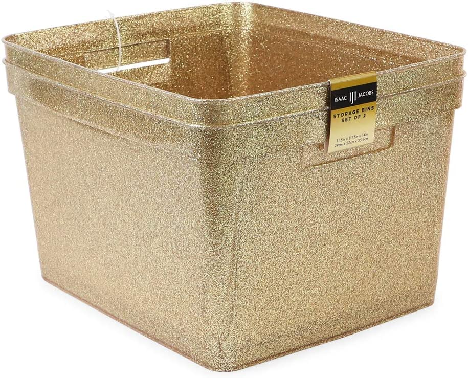 """Super special price Isaac Jacobs Quantity limited Large Glitter Storage Bin 11.5"""" Set 14"""" 8.75"""" x"""