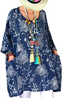 SZIVYSHI 3/4 Sleeve Batwing Dolman Sleeve Floral Swing Trapeze Maternity Smock Blouse Shirt Tunic Top Mini Dress