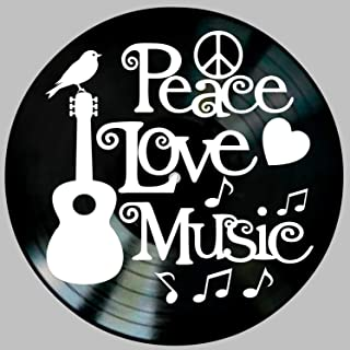 Peace Love Music Quote on a Vinyl Record Wall Artwork Album