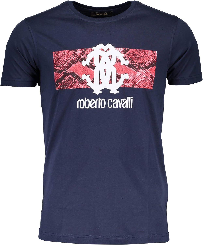 ROBERTO CAVALLI Camiseta de algodón para hombre, diseño de piel de serpiente, azul