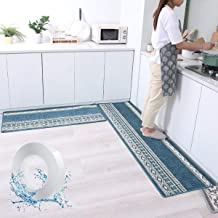 Kitchen Rug and Mats Set Floor Mat Carpet Absorbent Non-slip 50x150cm and 50x80cm for Kitchen Entryway Bedroom Bathroom an...