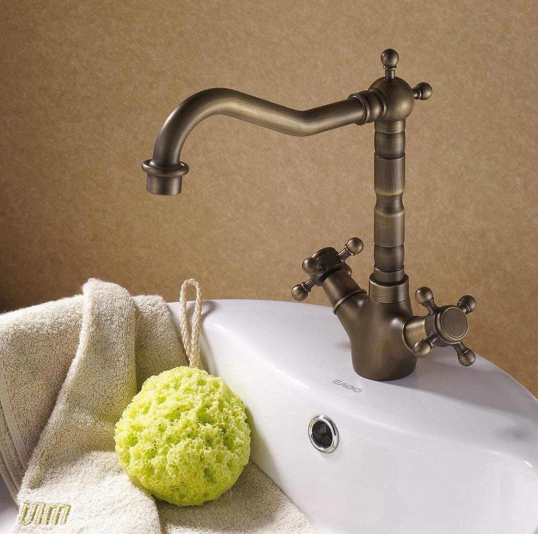 WYJW Antiker Messingdoppelhahnbadezimmer Badezimmer-Hahn-Toilettenhahn des europischen Stils