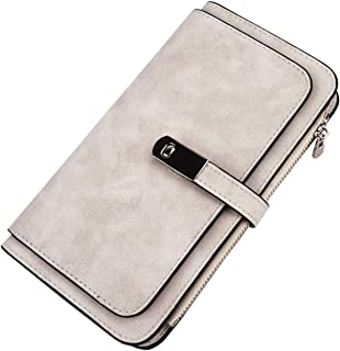 Women Soft PU Leather Wallet RFID Blocking Clutch Purse with 2 ID Window Coin Pocket Card Holder