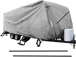 Leader Accessories New Easy Setup Travel Trailer Cover Fits 18'-20' RV Camper W Assist Steel Pole
