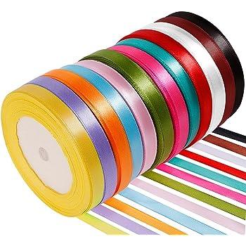 Anpro 12PCS Ruban Satin Mixte Coloris 10mm x 22m Environ Décoration pour DIY, Mariage,Fête et Emballage Cadeau, Faire nœud Papillon
