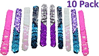 GSM Brands Mermaid Bracelet - Reversible Sequin - Multi-Color Fashion Party Favor - Velvet Lining - Slap Style - 10 Pack