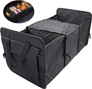 DESON Organizador Maletero Coche, Caja Plegable de Coche, Cesto Plegable para Maletero con 3 Compartimentos, Negro