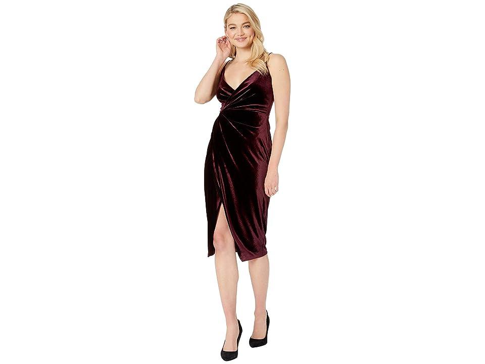 Betsey Johnson Velvet Faux Wrap Dress (Wine) Women