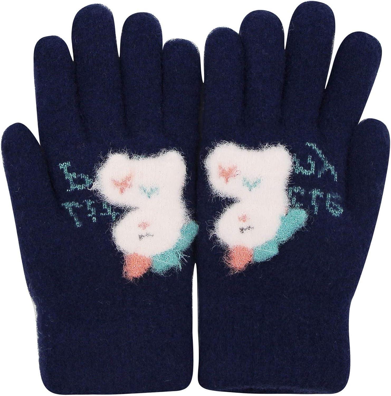 Kids Warm Fleece Lined Knit Full Fingers Gloves Cartoon Unicorn Dinosaur Winter Thermal Mittens, 5-10Y
