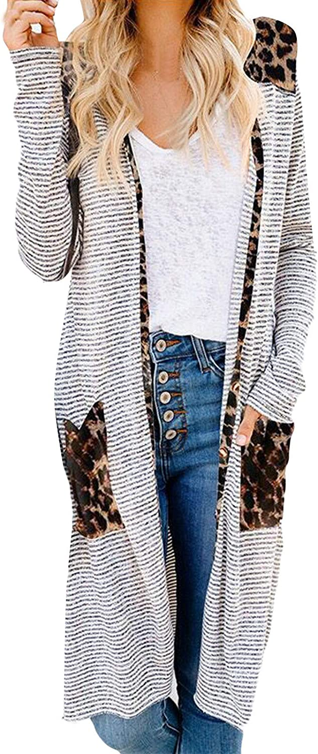 Forwelly Women's Fall Lightweight Long Cardigan Fashion Leopard Print Open Front Jacket Casual Loose Coat