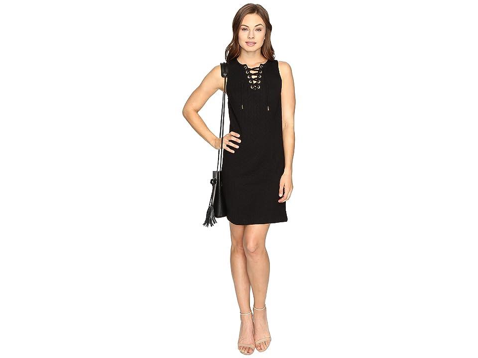 kensie Quilted Braids Dress KSDK7483 (Black) Women