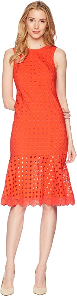 Donna Morgan Sleeveless Eyelet Midi Dress with Flounce Skirt