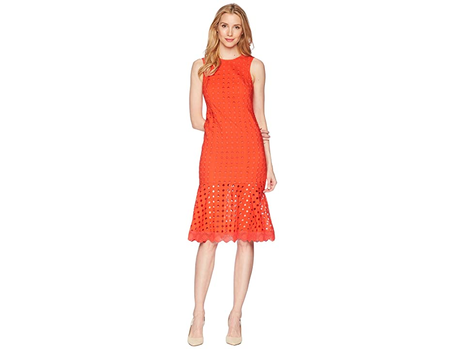 Donna Morgan Sleeveless Eyelet Midi Dress with Flounce Skirt (Tomato Red) Women