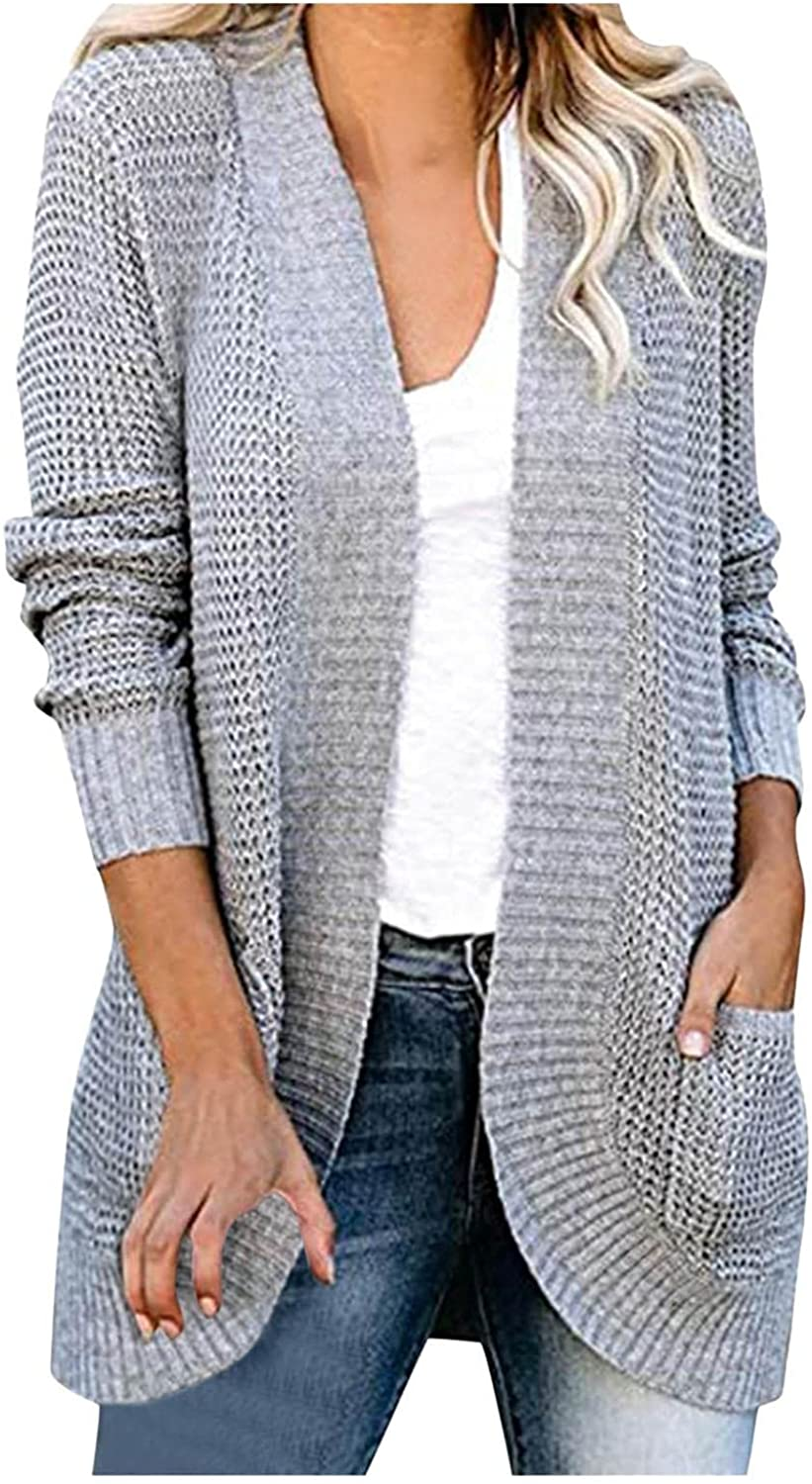 AODONG Cardigan for Women Long Sleeves Casual Knitted Sweater Open Front Cardigan Loose Coat with Pockets