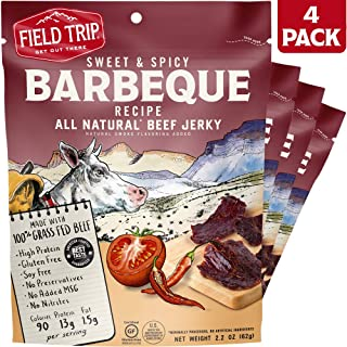 Field Trip All Natural Grass-Fed Beef Jerky, Sweet & Spicy, 2.2 Ounce, 4 Count