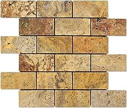 Scabos 2 X 4 Tumbled Travertine Brick Mosaic Tile (Box of 5 sq. ft.)