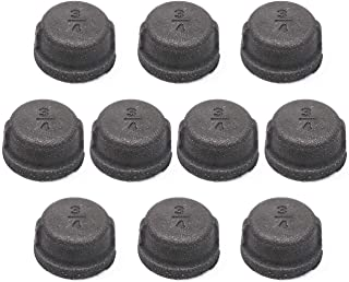 Black Malleable Iron Cast Pipe Fitting Cap, Home TZH 10 Pack 3/4