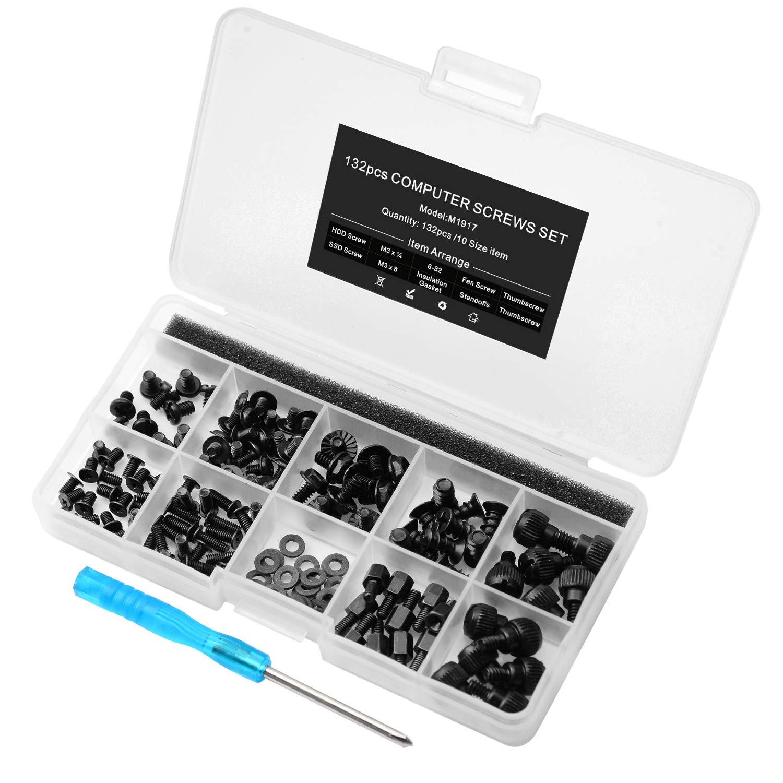 132pcs Personal Ordenador Tornillo Soportes Kit para Placa Base Caja HDD SSD Ventilador: Amazon.es: Electrónica