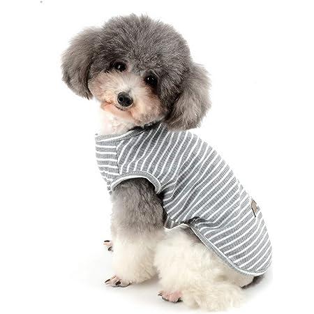 ZUNEA ペット 犬服 Tシャツ 夏 ボーダー柄 ベスト 涼しい 小型犬 柔らかい 綿製 タンクトップ 猫服 おしゃれ かわいい シャツ 脱毛保護 ひんやり ドッグウェア 子犬 洋服 お散歩 グレー M