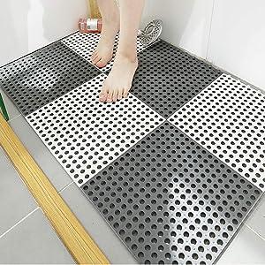 10PCS Interlocking Rubber Floor Tiles with Drain Holes DIY Size Bathroom Shower Toilet Non-Slip Floor Tiles Mat Interlocking Massage Soft Cushion Floor Tiles for Indoor/Outdoor