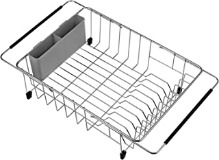 ARCCI Expandable Dish Drying Rack with Utensil Rack, Adjustable Handle Drying Basket Organizer for in Sink, on Countertop Dish Drainer, Rustproof Stainless Steel - Grey Utensil Rack