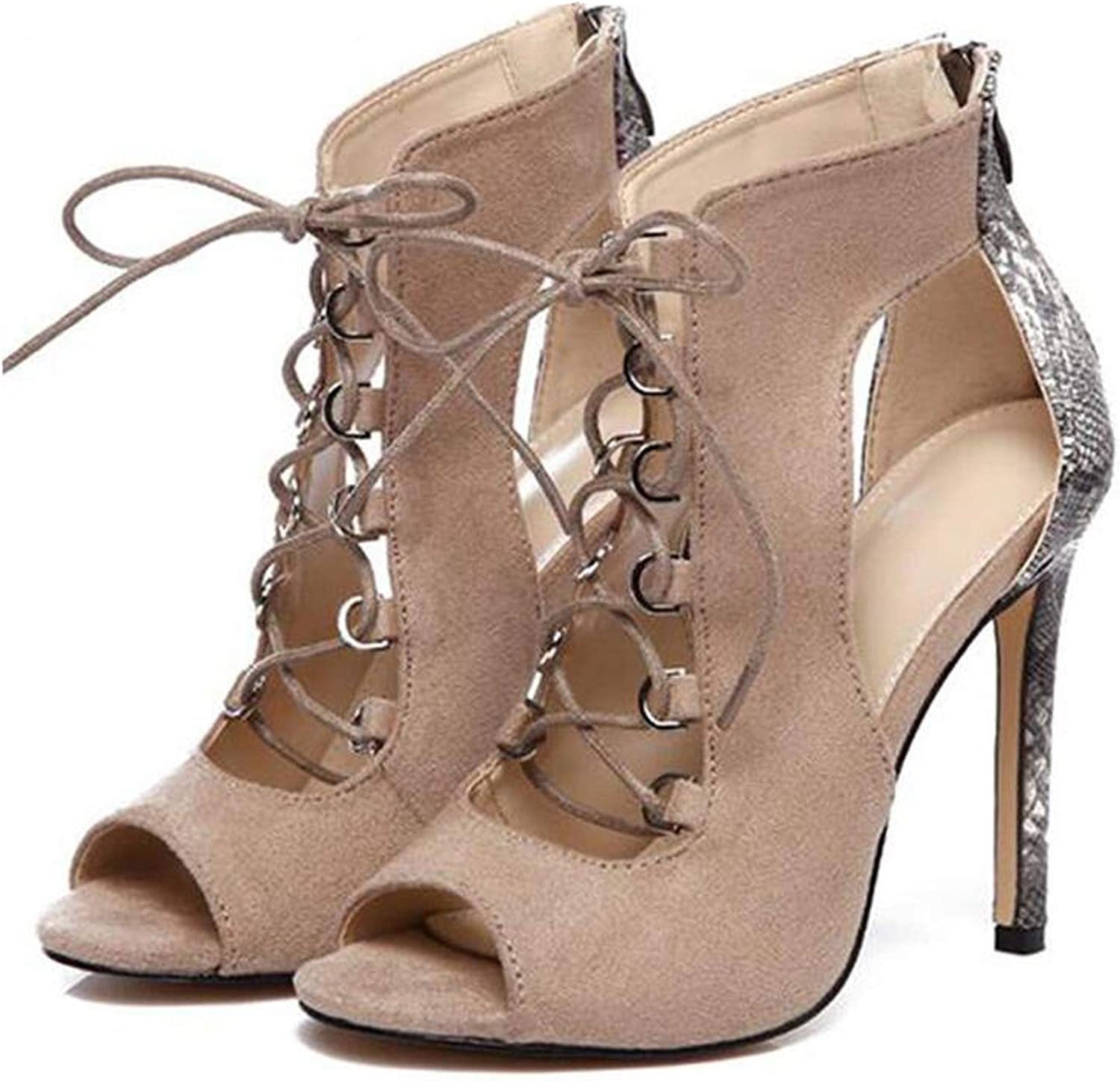 Woman shoes Snake Grain Splicing Strap Sandals Show Rome High Heels,Apricot,5