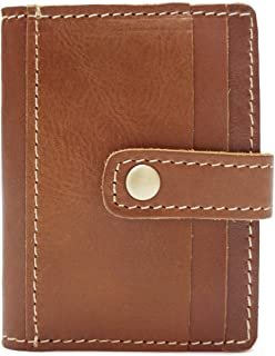 Practical Short-Sleeved Card Package Wave Crazy Horse Leather Multi-Card Card Package Unisex (Color : Orange, Size : S)