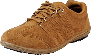 Lancer Men La-107 Tan Suede Sneakers