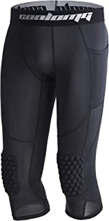 Legendfit Basketball Compression Pants with Knee Pads 3/4 Capri Training Tights Leggings Protector Gear for Kids Youth