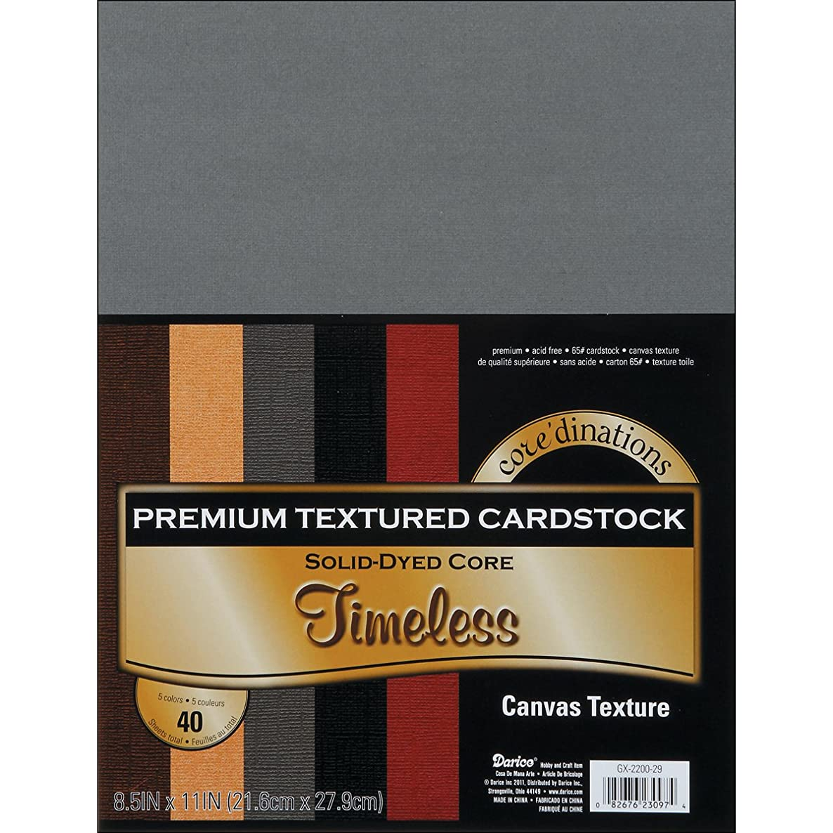 Darice GX220029 Coordination Value Cardstock, 8.5 by 11-Inch, Timeless, 40-Pack